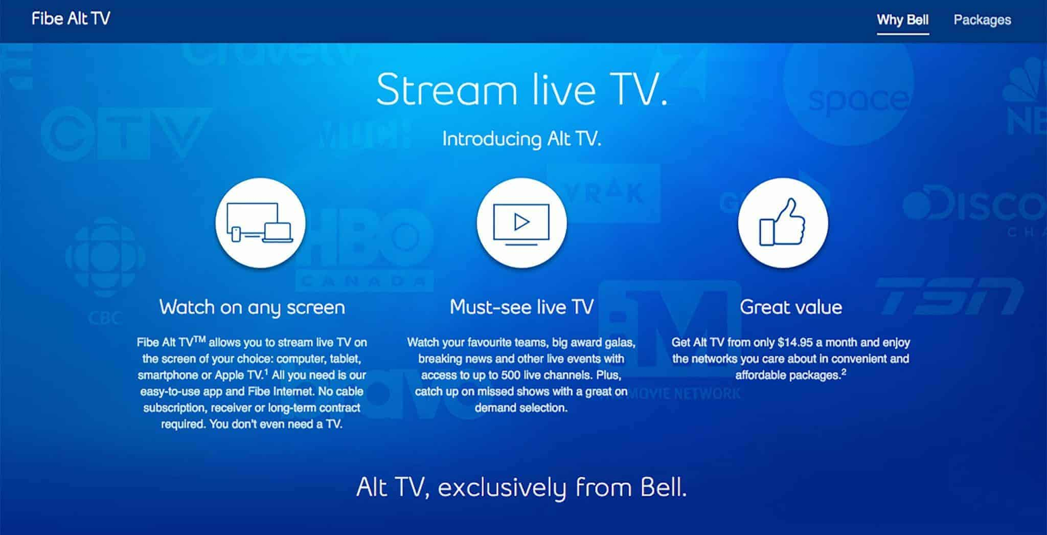 fibe-alt-tv Bell launches a $14.95 'Alt TV' mobile streaming app service