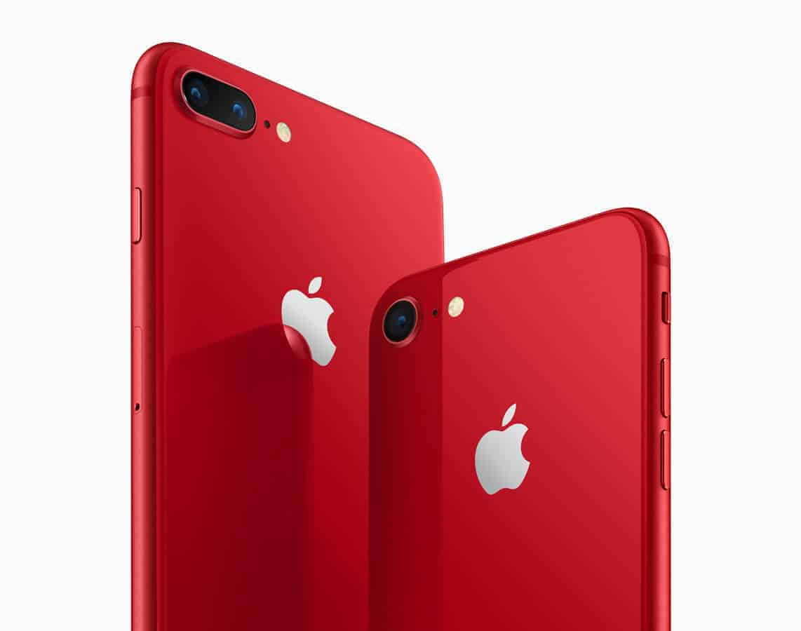 iPhone8-iPhone8PLUS-PRODUCT-RED_angled-back_041018-1 Apple Introduces iPhone 8 and iPhone 8 Plus (PRODUCT)RED Special Edition